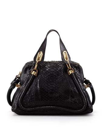 Paraty Medium Python Shoulder Bag, Black