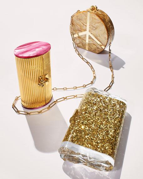 Lara Confetti Clutch Bag, Golden