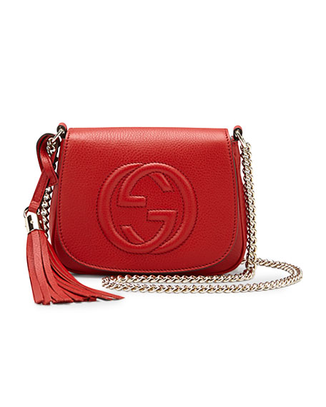 Soho Leather Chain Crossbody Bag, Red