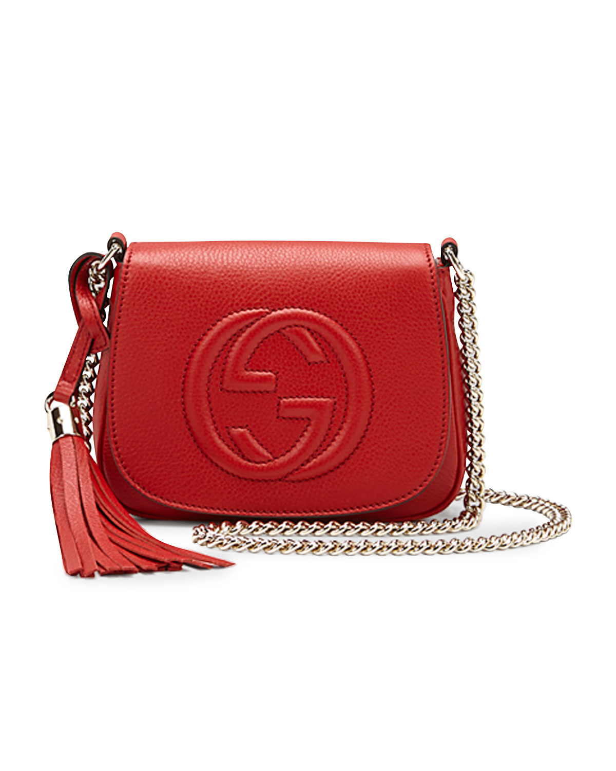 Soho Leather Chain Crossbody Bag Red