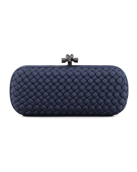 Bottega Veneta Woven Faille Large Knot Clutch Bag,