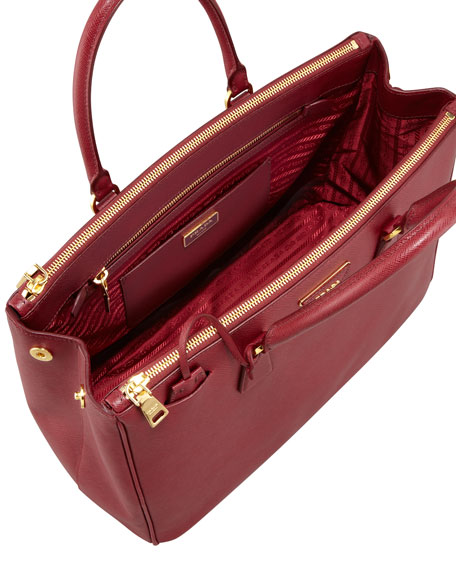 Medium Saffiano Double-Zip Executive Tote Bag, Cherry (Ciliegia)