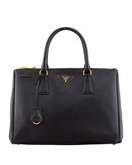 Prada Saffiano Small Double-Zip Executive Tote Bag, Black (Nero)