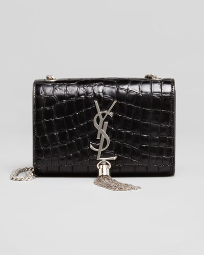 Monogram Small Croc-Print Crossbody, Black
