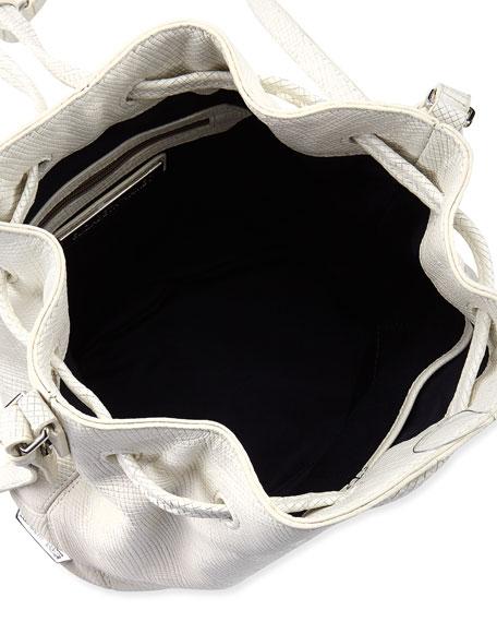 Cynnie Mini Crosshatch Leather Bucket Bag, White