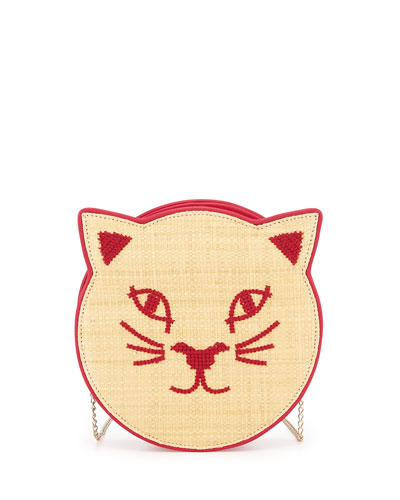Pussycat Raffia Shoulder Bag, Pink
