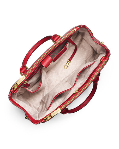 Sutton Medium Satchel Bag, Dark Red/Black