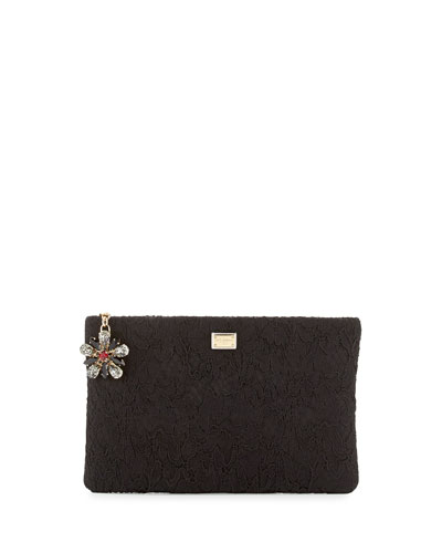Lace Clutch with Crystal Flower Charm, Black
