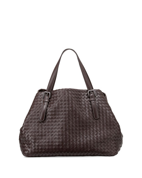 Bottega Veneta Large Woven A-Shape Tote Bag, Dark Brown