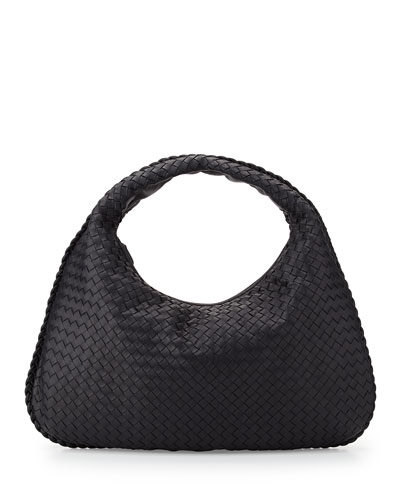 Veneta Intrecciato Large Hobo Bag, Navy