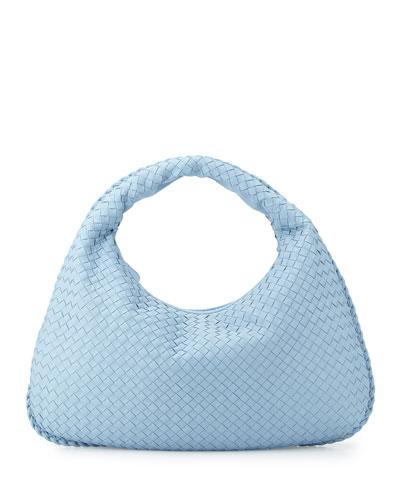 Veneta Large Woven Hobo Bag, Light Blue