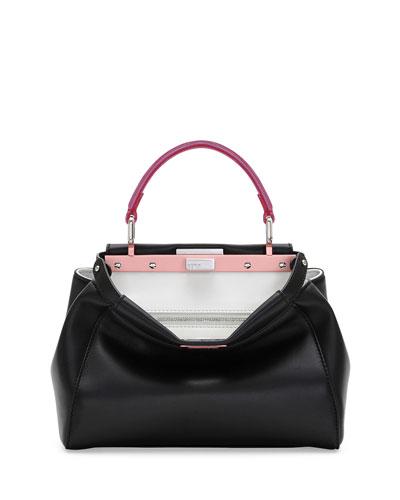 Peekaboo Mini Tricolor Satchel Bag, Black/Red/Fuchsia