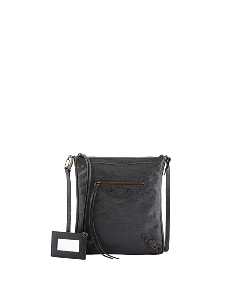 Balenciaga Classic Flat Crossbody Bag, Dark Gray