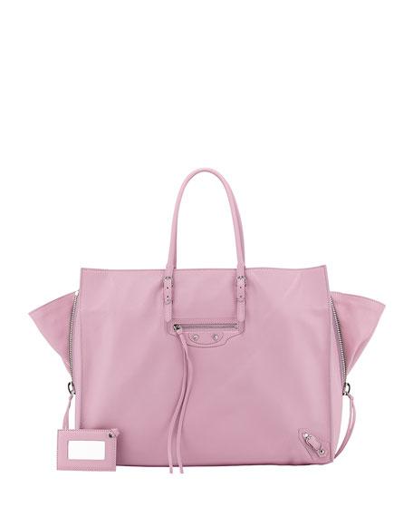 Balenciaga Papier A4 Side Zip Leather Tote Bag,