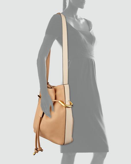 Emma Small Drawstring Shoulder Bag, Blush Nude
