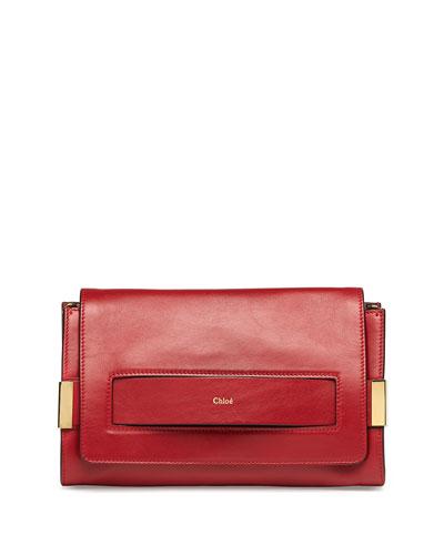 Elle Clutch Bag with Shoulder Strap, Red