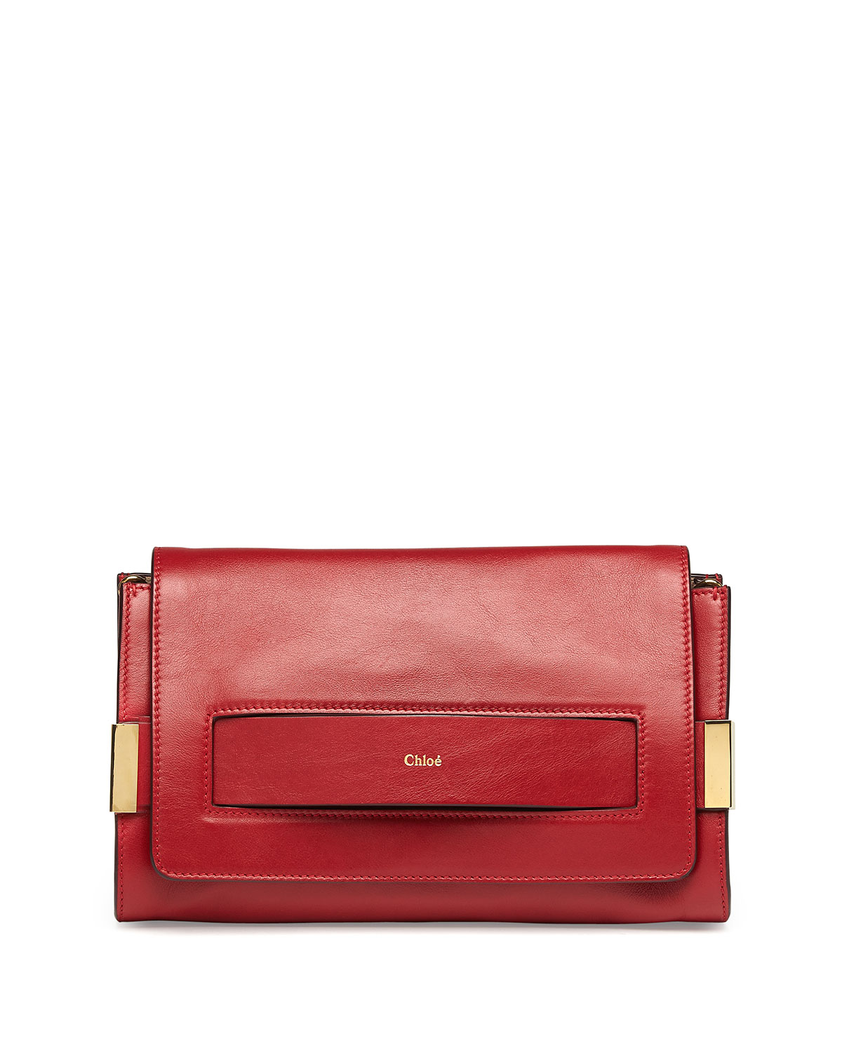 Elle Clutch Bag With Shoulder Strap Red