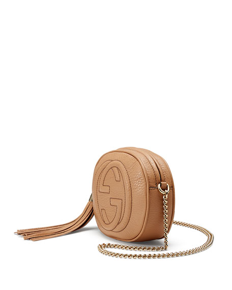 Soho Leather Mini Chain Bag, Beige