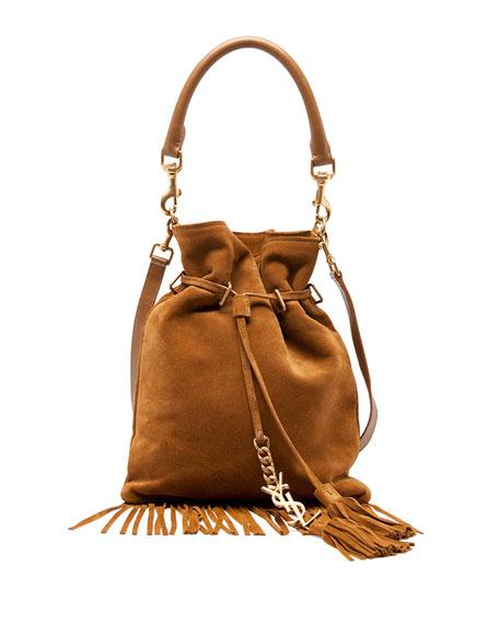Monogram Small Suede Fringe Bucket Bag, Camel