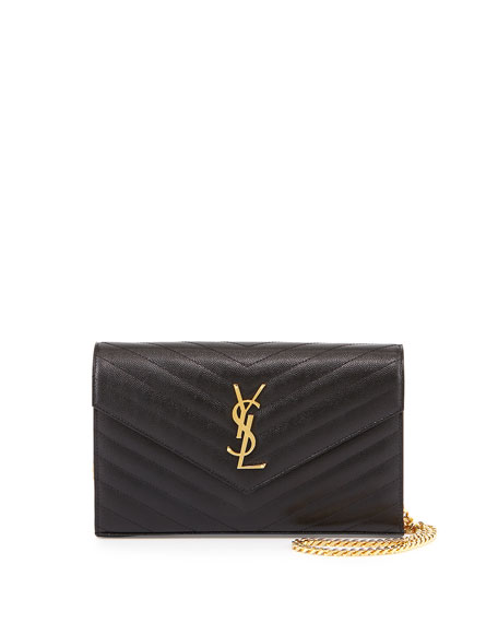 Saint Laurent Monogram Matelasse Shoulder Bag, Black