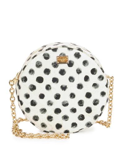 Glam Polka-Dot Round Crossbody Bag, White/Black