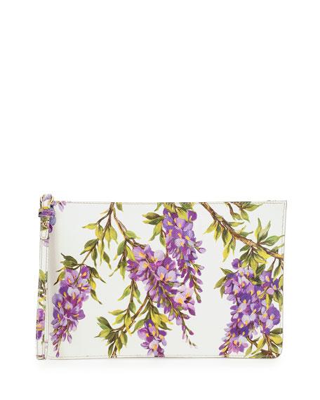 Gemma Floral Zip Pochette, White/Purple