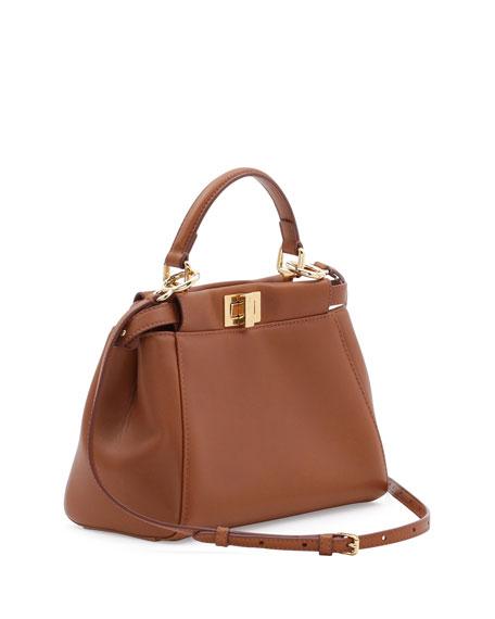 Peekaboo Mini Leather Satchel Bag, Brown