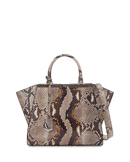 Fendi 3 Jours Mini Python Satchel Bag, Neutral