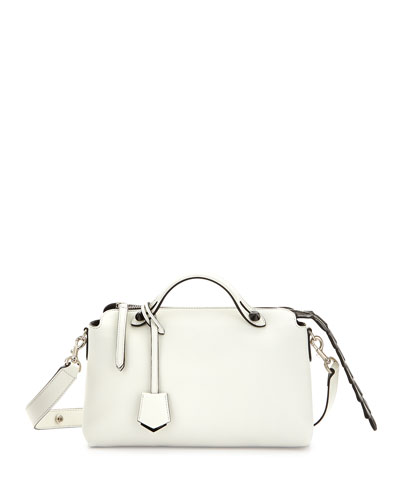 By The Way Small Croc Satchel, White/Black