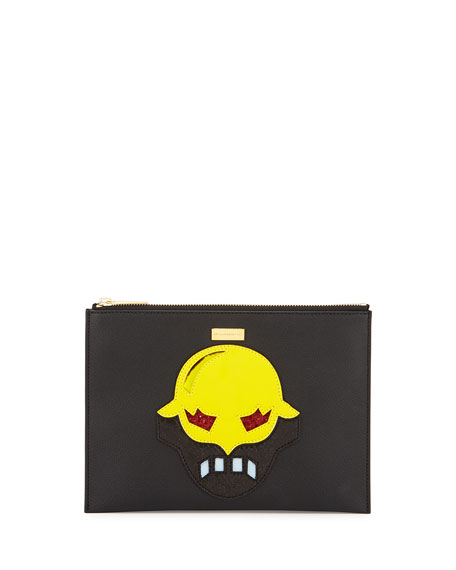 Super Hero Small Zip Clutch Bag, Black/Yellow
