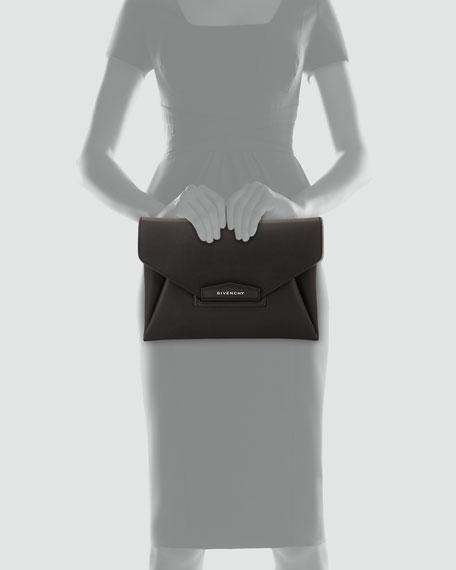 Antigona Leather Evening Envelope Clutch Bag, Black