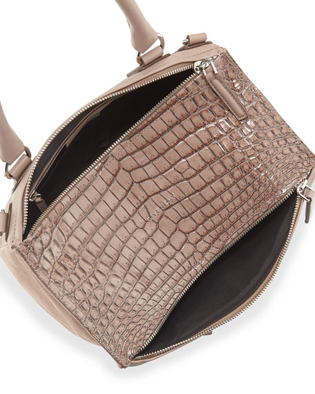 Pandora Medium Stamped Crocodile Shoulder Bag, Linen
