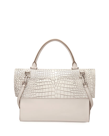Givenchy Shark Medium Stamped Crocodile Bag, Off White