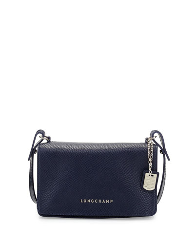 Quadri Leather Crossbody Bag, Navy