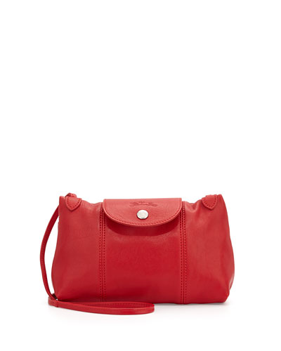 Le Pliage Cuir Crossbody Bag, Cherry