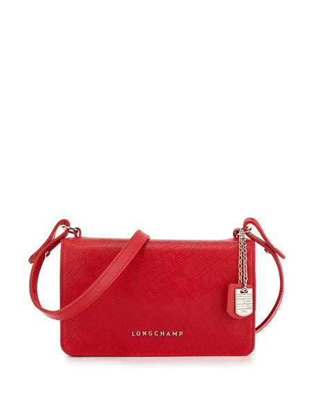 Quadri Leather Crossbody Bag, Poppy
