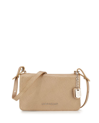 Quadri Metallic Leather Crossbody Bag, Gold