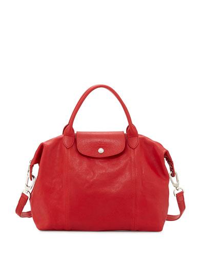 Le Pliage Cuir Handbag with Strap, Cherry