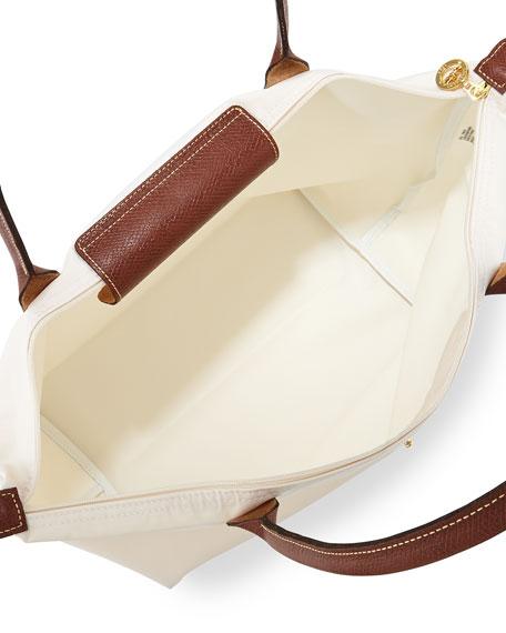 Le Pliage Large Nylon Shoulder Tote Bag, Ecru