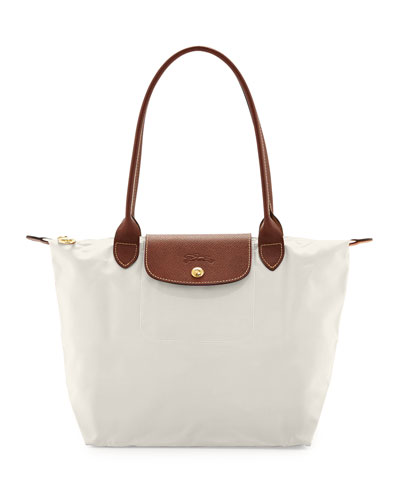 Le Pliage Medium Nylon Shoulder Tote Bag, Ecru