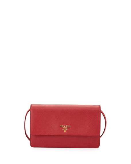 Prada Saffiano Mini Crossbody Bag, Red (Fuoco) | Neiman Marcus