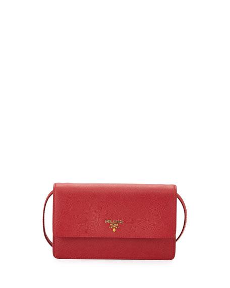 Prada Saffiano Mini Crossbody Bag, Red (Fuoco) | Neiman Marcus