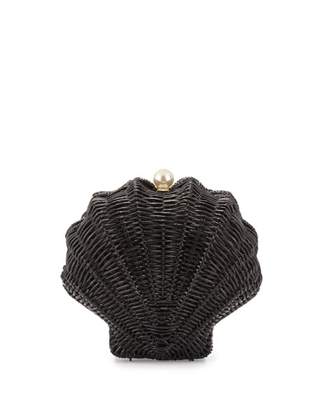splash out wicker clam shell clutch bag, black