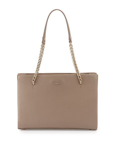 kate spade new york emerson place metallic shimmer shoulder bag, spring putty