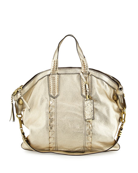 Oryany Cassie Convertible Leather Tote Bag, Platinum