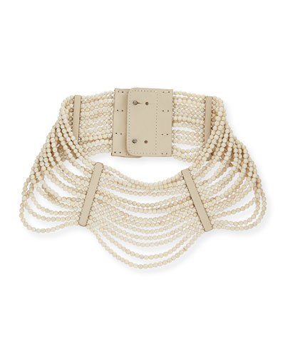Riverstone Multi-Strand Necklace, Vanilla/Multi