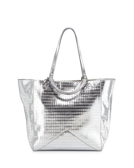 Joey Metallic Leather Tote Bag, Silver Screen