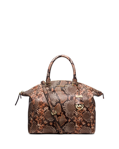 29b68306ed77c ... good michael michael kors riley large python print satchel bag peanut  dd285 7d898