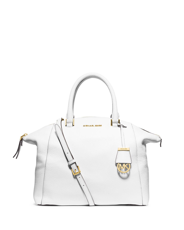 93b01fbdc455 MICHAEL Michael Kors Riley Large Pebbled Leather Satchel Bag, Optic White