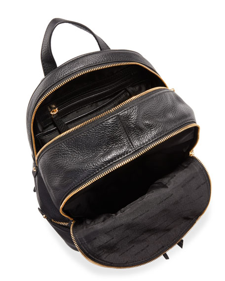 Rhea Small Zip Backpack, Black